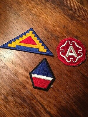 LOT OF 3 WWII ERA US MILITARY PATCHES 7th 9th ARMY 12th GROUP