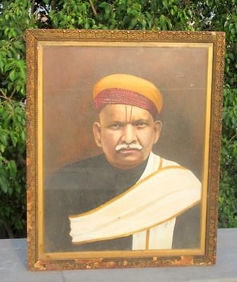 Antique Old Rare Artist Hand Painted Indian Tribal Man Portrait Oil Painting