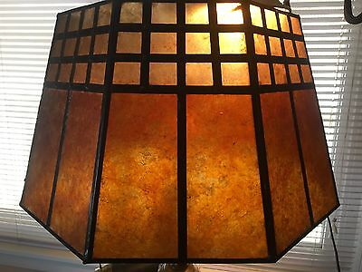 Large Two Tone Mica Antique Style Signed Arts & Crafts Mission Floor Lampshade