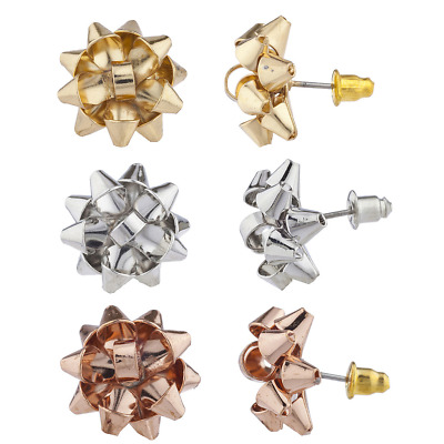 Lux Accessories Gold Rose Tone Christmas XmasPresent Bow studded Earrings
