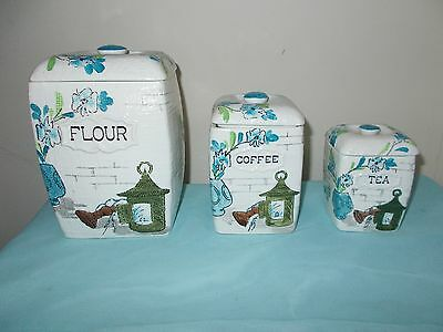 VINTAGE 3-CANISTER PORCELAIN CANISTER SET by National Potteries, Made in Japan