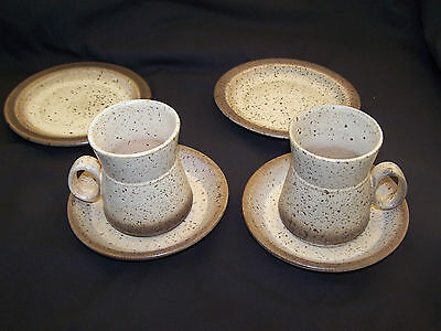Vintage Set of Two Iden Pottery Rye Mugs, with Matching Saucers & Side Plates