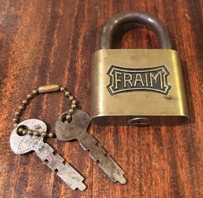 Antique FRAIM Solid Brass Padlock W/2 KEYS! Works Great Pad Lock Vintage