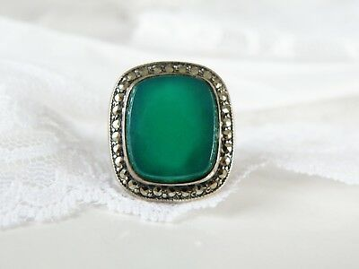Antique Vintage Art Deco Sterling Silver Green Chalcedony Marcasite Ring Size 5