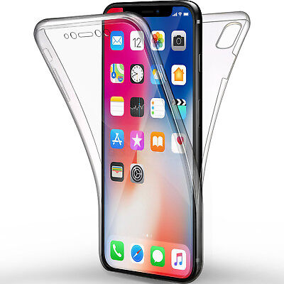 Cover Per Iphone Xs / X 10 Apple Full Body 360 Fronte Retro Custodia Trasparente