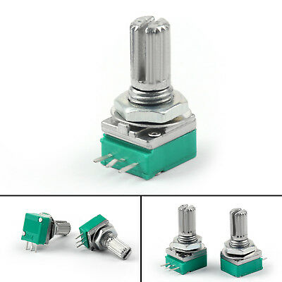 20PCS 6mm 3pin Knurled Shaft Single Linear B10K Ohm Rotary Potentiometer 15mm US