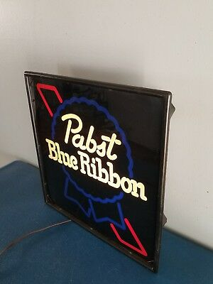 (VTG) 1980s PABST BEER ON TAP LIGHT UP  NEON SIGN GAME ROOM MAN CAVE MINT & BOX