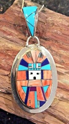 Native American Sterling Spiny Oyster and Turquoise Navajo Yei Pendant