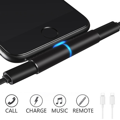 5 in1 Dual Lightning to Audio Headphone Adapter Charger Cable For iPhone 6 7 8 X