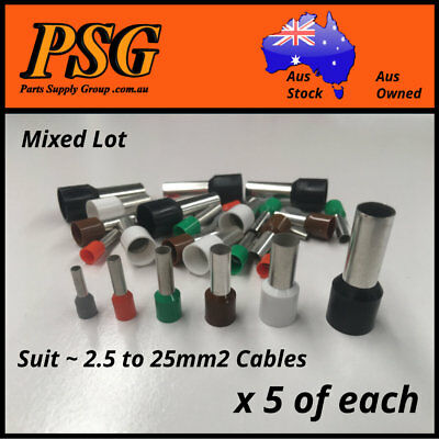 Cable Ferrules Bootlace Pin Crimp Wire Sleeve Mixed Lot 2.5,4,6,10,16,25mm2