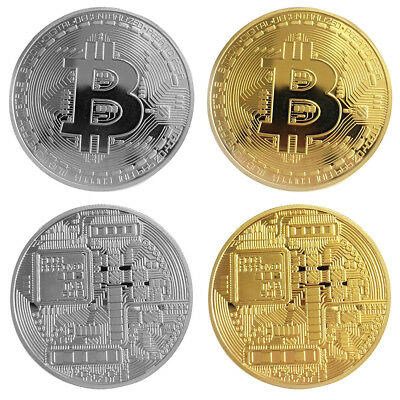 Silver Plated Bitcoin Coin Collectable BTC Coin Art Collection Gift Physical 1pc