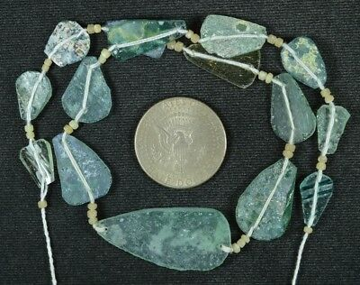 Ancient Roman Glass Beads 1 Medium Strand Aqua And Green 100 -200 Bc 795