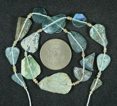 Ancient Roman Glass Beads 1 Medium Strand Aqua And Green 100 -200 Bc 794