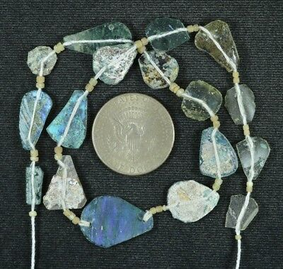 Ancient Roman Glass Beads 1 Medium Strand Aqua And Green 100 -200 Bc 793