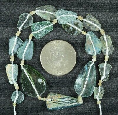 Ancient Roman Glass Beads 1 Medium Strand Aqua And Green 100 -200 Bc 790