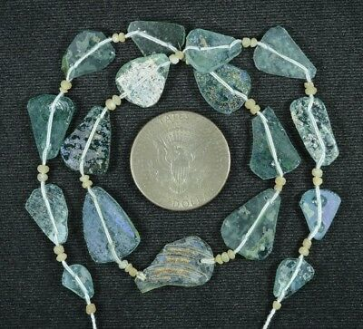 Ancient Roman Glass Beads 1 Medium Strand Aqua And Green 100 -200 Bc 789