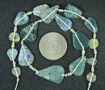 Ancient Roman Glass Beads 1 Medium Strand Aqua And Green 100 -200 Bc 787