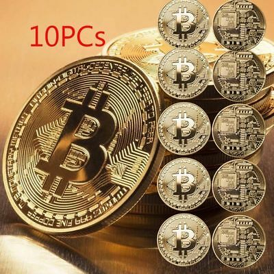 10PC Gold Bitcoin Commemorative Round Collectors Coin Bit Coin Gold Plated Coins
