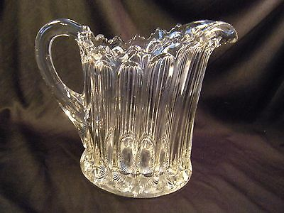 Vintage Pressed Glass Clear Pitcher, Unknown Pattern & Maker, Very Heavy