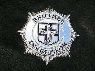 BROTHEL INSPECTOR BADGE - SILVER PLATED High Quality LIMITED EDITION Suit POLICE