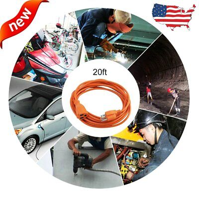 20 ft Feet Power Extension Cable Cord 16 AWG Outdoor Heavy Duty US Plug 3 Pin FG