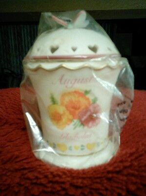 Candle in Ceramic vented lid AUGUST Birth Month Flower NIB (Gladiolus) by AVON