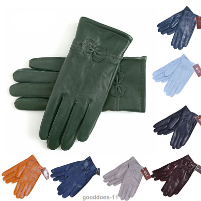 Ladies Women's Winter Warm Genuine Lambskin Leather Driving Soft Lining Gloves.