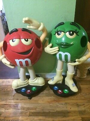 MS. GREEN M & M CANDY CHARACTER DISPLAY ON WHEELS ~  LARGE STORE DISPLAY 3ft Red