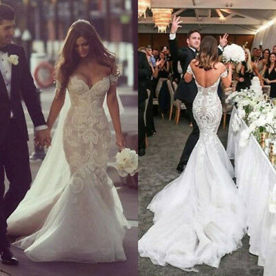 9fd86ef70 Sexy Mermaid Lace Beading Tulle Off Shoulder Wedding Dresses Bridal Gowns  Newest