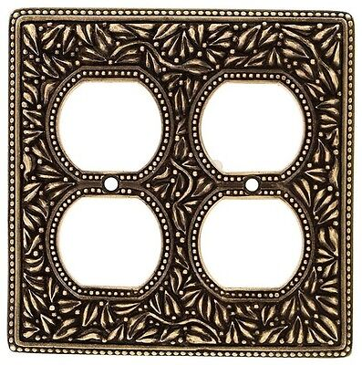 Vicenza Designs San Michele Wall Plate Jumbo Double Outlet Antique Brass WPJ7003