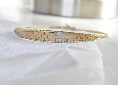 Vintage 14K Solid Italian Tri Color Rose Yellow White Gold Link Bracelet