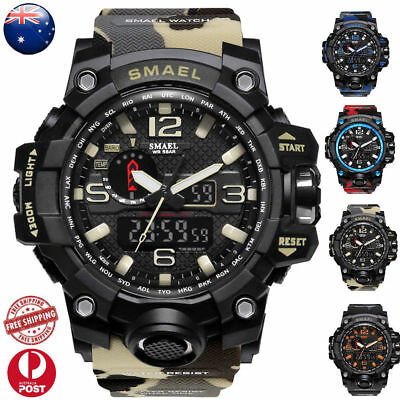 SMAEL Mens Fashion Date Army Military Digital Analog Quartz Sport Wrist Watch AU