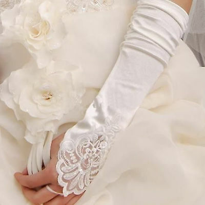 2018 White Ivory long satin lace pearl fingerless gloves wedding bridal gloves