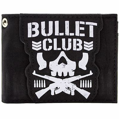 New Official Bullet Club Japanese Wrestling Group Skull Id & Card Bi-Fold Wallet