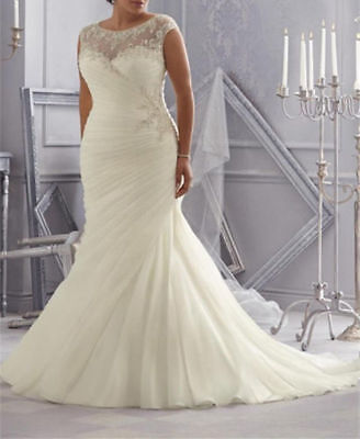 Ruched Mermaid Wedding Dress Bridal Gown Plus Size14 16 18 20 22 24 26
