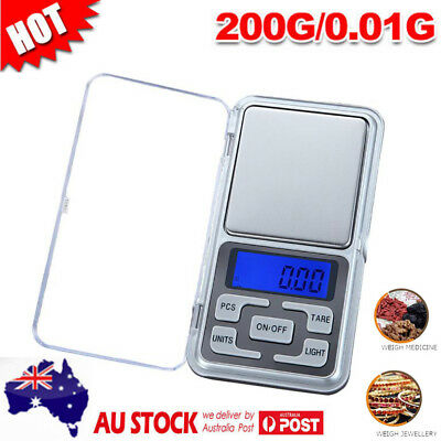 Mini 200g 0.01 DIGITAL POCKET SCALES JEWELLERY PRECISION ELECTRONIC WEIGHT AU