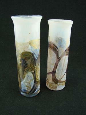 Isle Of Wight Studio Glass, 2 Cylindrical Vases / Vase, White / Gold / Amethyst