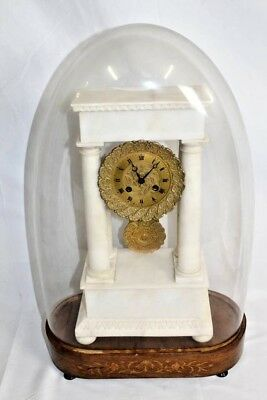 French Empire Carved Marble Column Portico Clock & Glass Dome, ca.1840