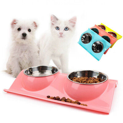 1XStainless Double Food/Water Pet Feeding Bowl Dog/Puppy/Cat/Kitten NonSlip Dish