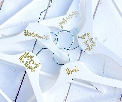 Wedding Bridal Party Vinyl coat hanger decal sticker NAME OR ROLE DIY stickers