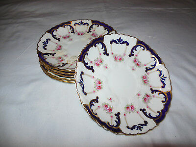 "Vintage AYNSLEY England 7"" Saucer Floral w Blue & gold Scalopped edging"