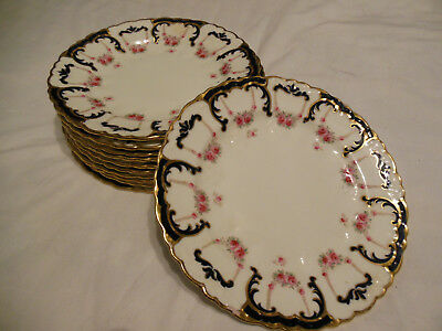 "Vintage AYNSLEY England 7"" BREAD PLATE Floral w Blue & gold Scalopped edging"