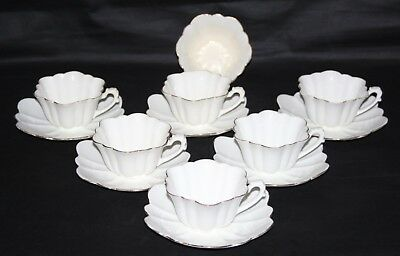 Wileman Foley - 6 x White Empire Shaped Cups & Saucers + Sugar Bowl - c1890