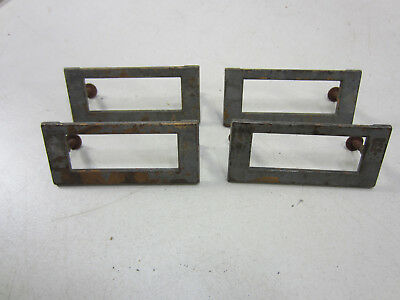 4 Vintage Heavy Brass Card File Cabinet Label Holders  #564