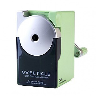 Carl CP-100 Pencil Sharpener. Green. Manual, Quiet for Office and Home Desks, Sc