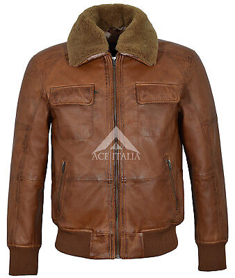 Mens Pilot Leather Jacket Tan Fur Collared Classic Bomber Style B3 Leater Jacket