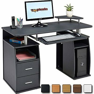 Black Desk Computer Shelf Storage Cabinet PC Office Table Drawer Workstation