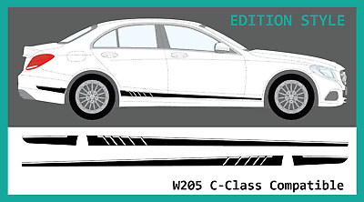 Mercedes C-Class W205 AMG Style Side Stripe Decal Graphic Set (Edition C63, C43)