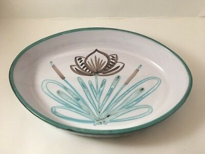 Vintage Mid Century Robert Picault Oval Bowl/Tray Floral Pottery Signed