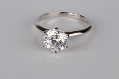 1.5 Ct Si1/f Round Cut Diamond Solitaire Engagement Ring 14K White Gold